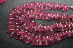 AAA Pink Sapphire Faceted Drops Shape Briolettes