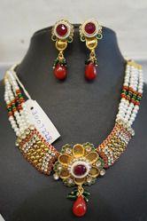 Polki Crystal Moti Necklaces