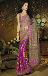 Pink+Color+Net+and+Viscose+Saree+with+Blouse