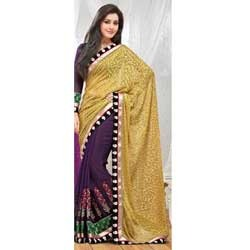 Flax Yellow & Deep Purple Brasso Saree