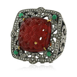 Carved Pave Diamond Ring Jewelry