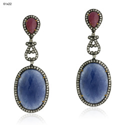 Pave Diamond Sapphire Gemstones Earrings