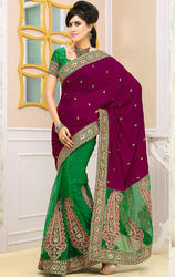 Magenta+and+Green+Color+Velvet+and+Net+Sarees+with+Blouse