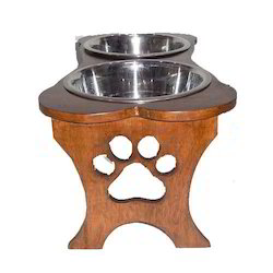 Elevated Wooden Double Pet Bowl