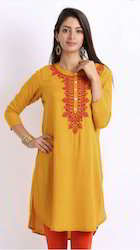 Mustard Embroidery Kurti with Beautiful Neck Embroidery