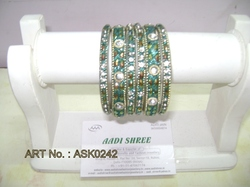 Hyderabadi Bangle With Turquoise Blue And Silver Stones