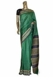Green Tussar Silk Sari