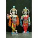 Colorful Radha-Krishana Marble Moorti Statues