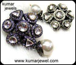 oxidized flower earring