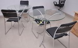 stainless steel glass table with chairs