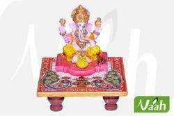 Vaah Marble Ganesh Chowki with Kundan Work