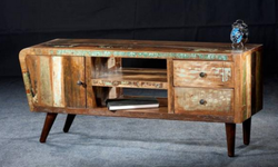 Reclaimed Timber Wood Retro Style Entertainment Unit