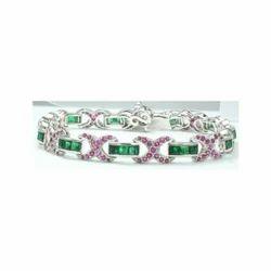 Emerald And Ruby Gemstone 925 Sterling Silver Bracelet