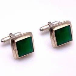 Silver Natural Green Onyx Men's Cufflinks