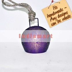 Small Purple Hand - Painted Golden Flower Indian Cow Bell