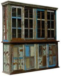 Reclaimed Wood Colorful Kitchen Display Cabinet