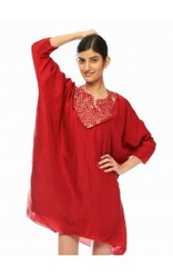 Red Dress With Mirror Work Yoke.