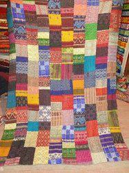 Old Silk Patchwork Kantha Quilt Multicolor Quilt