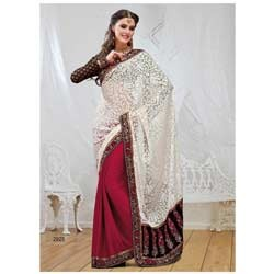 Off White & Red Brasso Saree