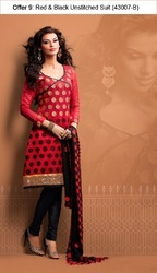 designer chanderi unstitched salwar suit