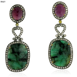Pave Diamond Emerald Gemstone Earrings