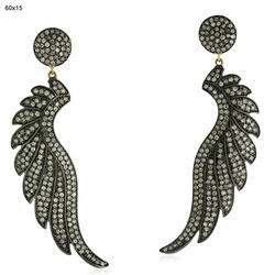 Pave Diamond Feather Earrings Jewelry