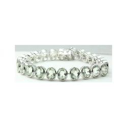 Green Amethyst Gemstone Sterling Silver Bracelet
