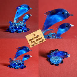 Handmade Lamp Working Glass Blue Dolphins - Home Decor