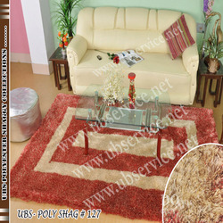 Red & White Polyester Shaggy Carpet
