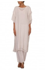White Double Layer Linen Kurta With Palazzo