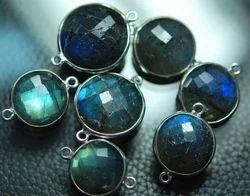 Blue Fire Labradorite Faceted Coin, Silver Connector
