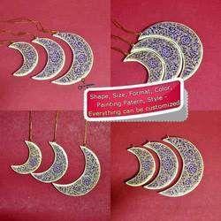 Paper Mache Christmas Ornament - Blue Floral Moon - Set of 3