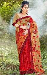 Beige+%26+Red+Net+%26+Faux+Satin+Chiffon+Saree+with+Blouse