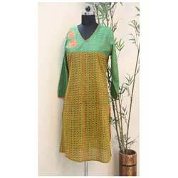 Green & Yellow Printed Kurti