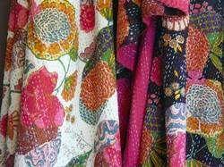 Fruit Print Kantha Quilts