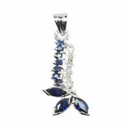 Designer Silver Pendant in Sapphire and Diamond