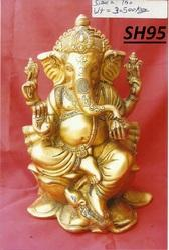 Vaah Brass Ganesha Statue on Lotus