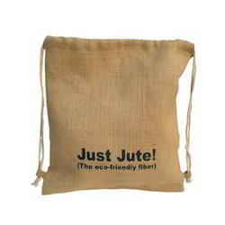 Jute Printed Drawstring Bag