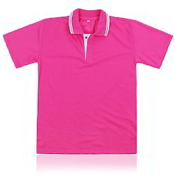 Pink Cotton Polo T-Shirt