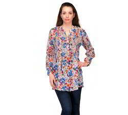 Floral+Printed+Georgette+Tunic+with+Pleated+Front++Yoke