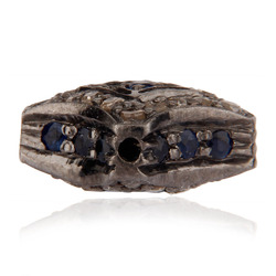 diamond pave blue sapphire silver finding beads jewelry