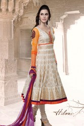 Beautiful Design White Orange Embroidery Work Salwar Kameez