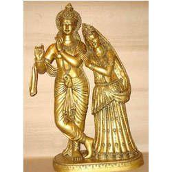Radha Krishna Standing on Oval Base