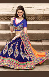 Orange+and+Royal+Blue+Color+Art+Silk+%26+Velvet+Lehenga+saree
