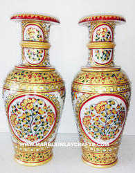 Gold Painting Marble Flower Vase