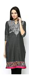 Classy Screen Printed Kurtis With Multi Color Floral Print
