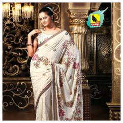 White Sequin Saree