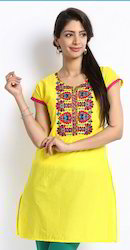 Yellow Short Sleeve Kurta with Colorful Embroidery