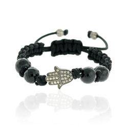 Black Onyx Beaded Hamsa Charm Bracelet