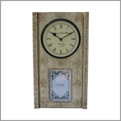 distressed finish white clock with photo panel